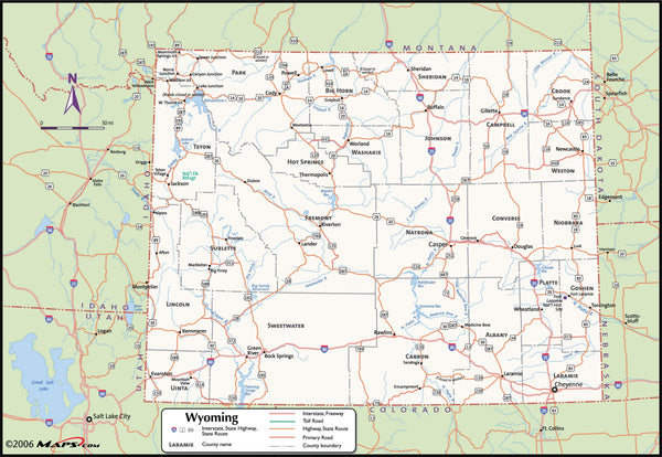Wyoming County Wall Map