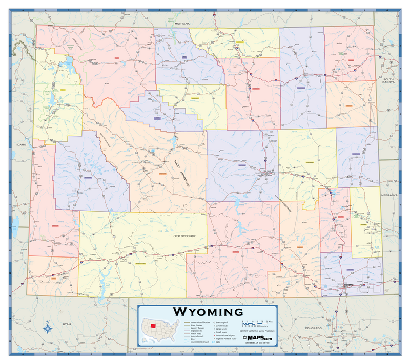 Wyoming Counties Wall Map