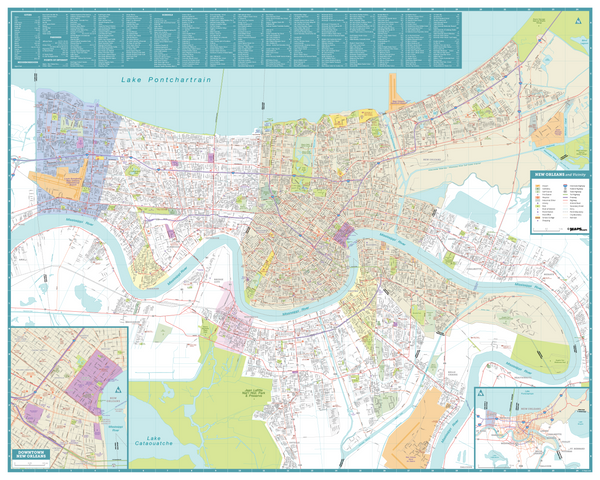 New Orleans Streets and Downtown Map