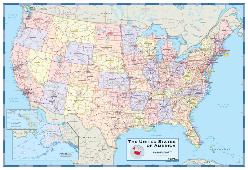 USA Political Wall Map - Light Colors