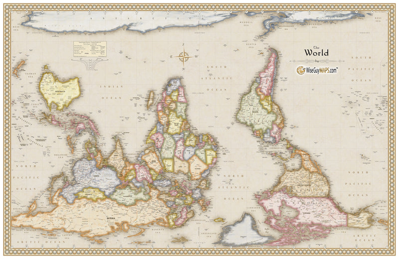 Antique Upside Down World Wall Map
