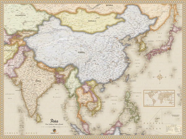 Antique Style Asia Wall Map