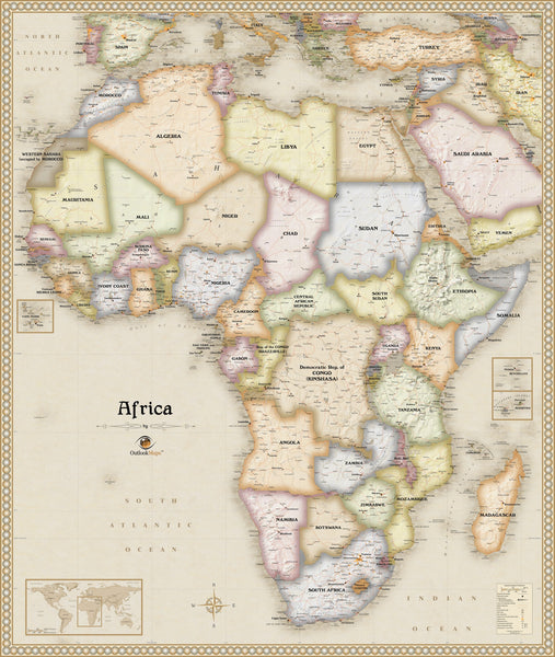 Antique Style Africa Wall Map
