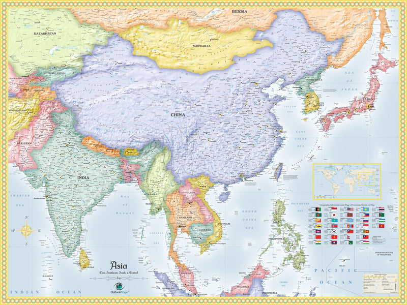 Asia Political Wall Map