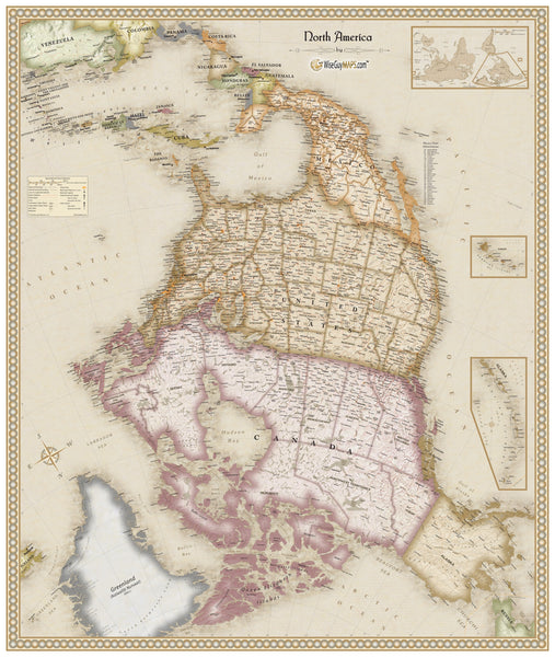 Upside Down Antique North America Wall Map