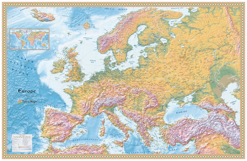 Europe Physical Wall Map