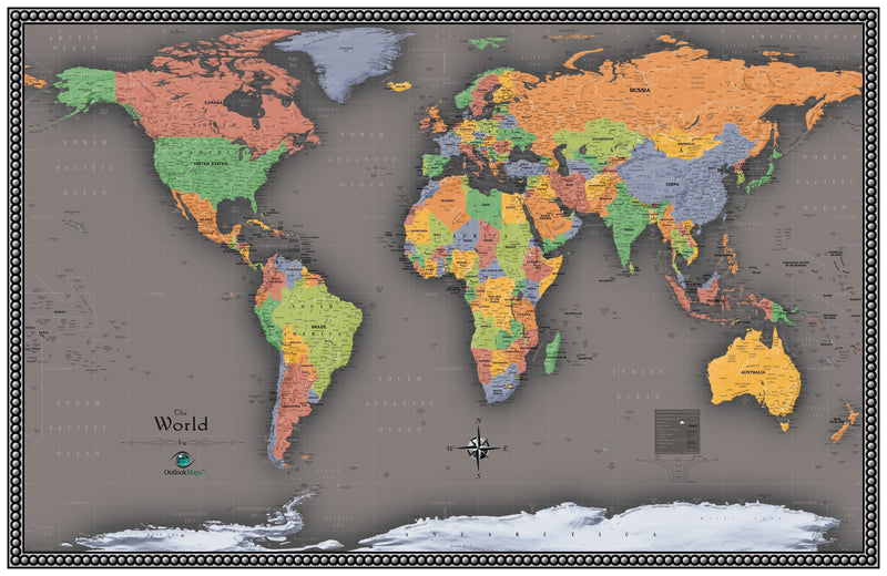 Contemporary World Wall Map