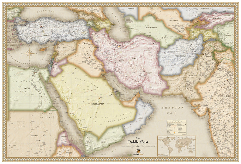 Antique Style Middle East Wall Map
