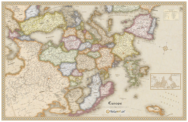 Antique Upside Down Europe Wall Map