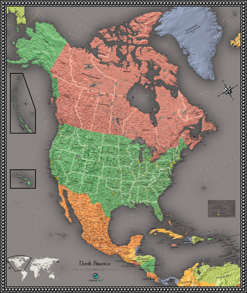 North America Contemporary Wall Map