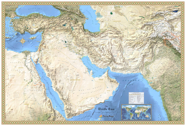 Middle East Satellite Reference Wall Map