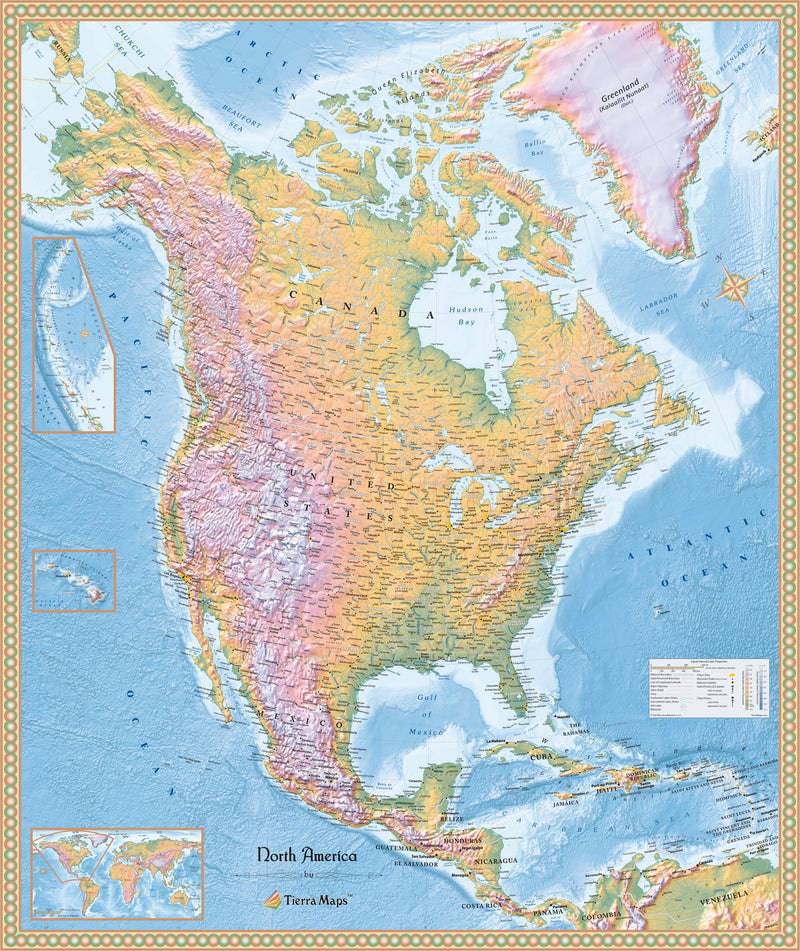 North America Physical Wall Map