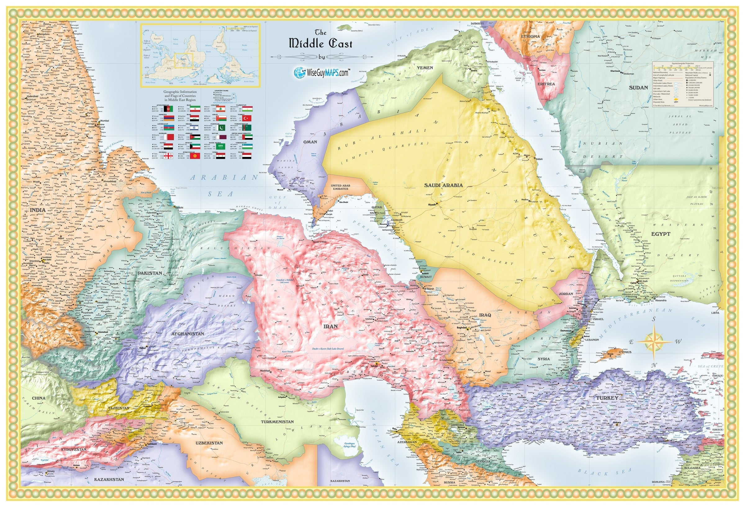 Picture of: Upside Down Middle East Wall Map Maps Com Com