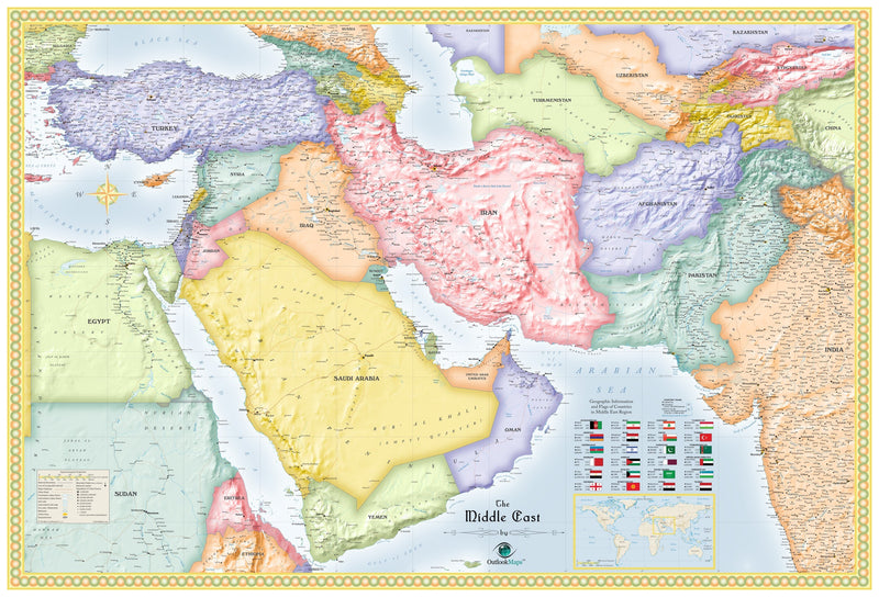 Middle East Political Wall Map