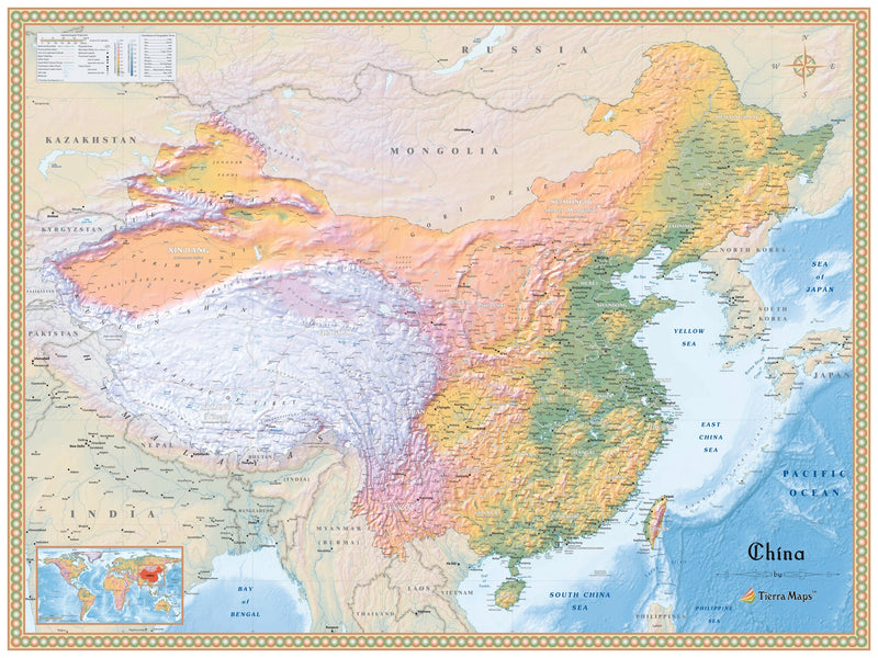 China Physical Wall Map