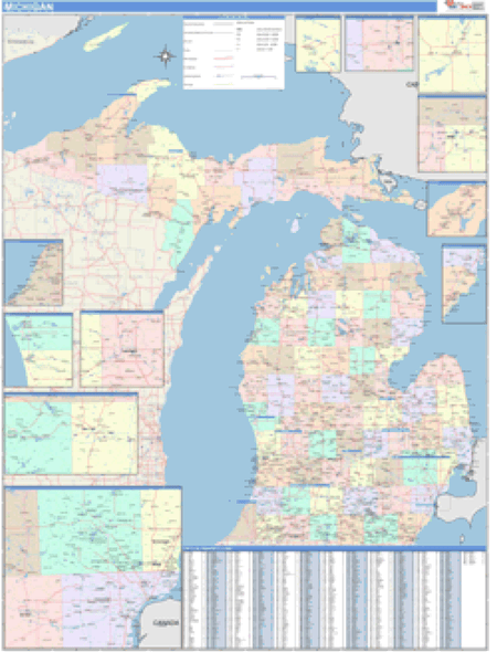 Michigan Business Wall Map