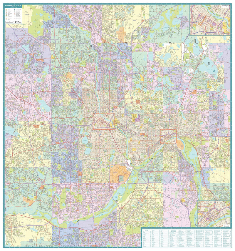 Greater Minneapolis/St. Paul Area City Map