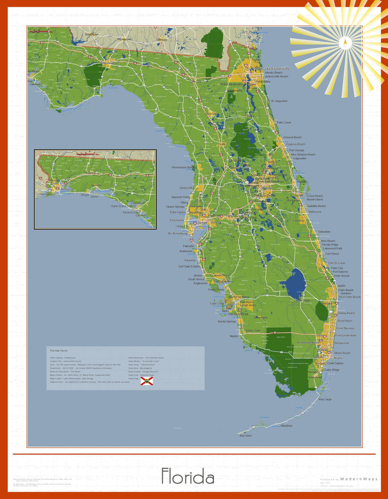Florida Soleil Wall Map