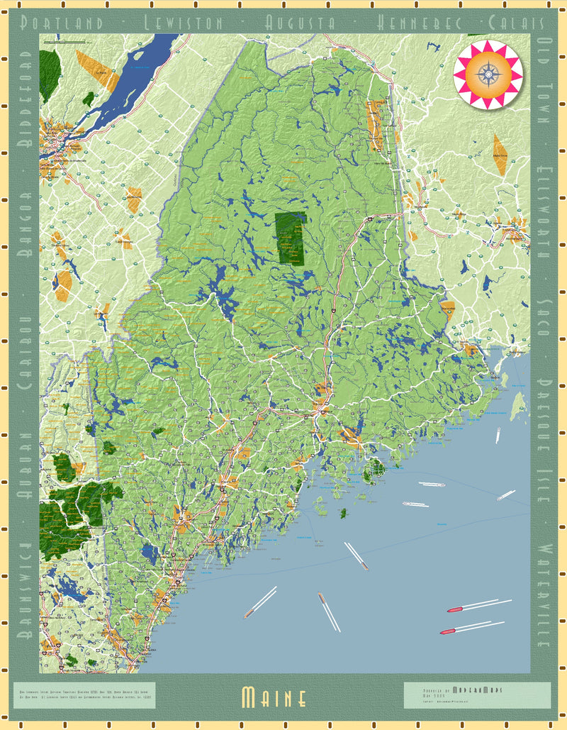 Maine Exposition Wall Map