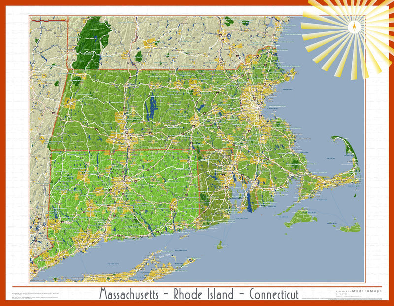 Massachusetts, Connecticut and Rhode Island Soleil Wall Map