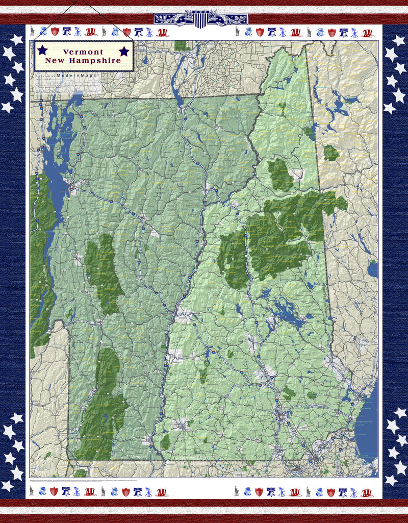 New Hampshire and Vermont Americana Wall Map