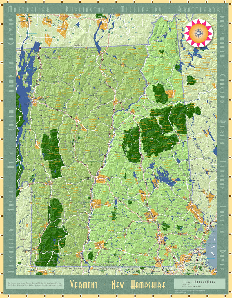 New Hampshire and Vermont Exposition Wall Map