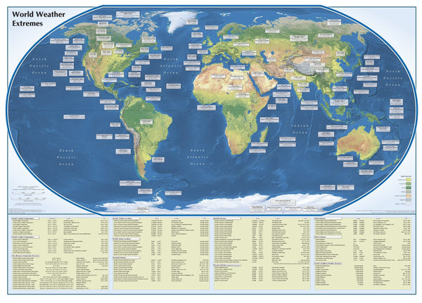 World Weather Extremes Wall Map