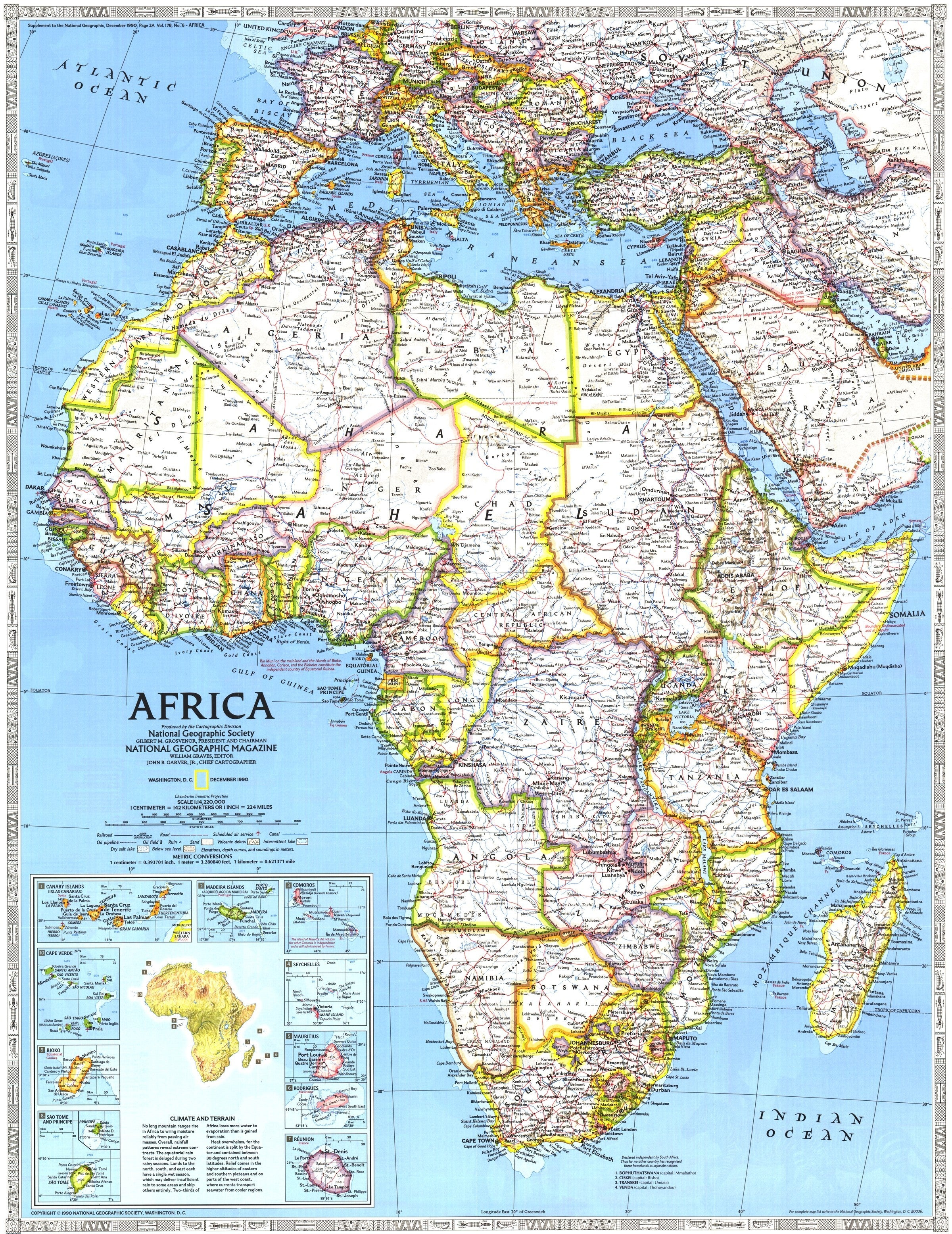 Africa Map Geographical.Africa Map 1990
