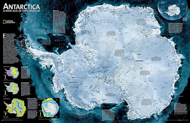 National Geographic Antarctica Satellite Wall Map