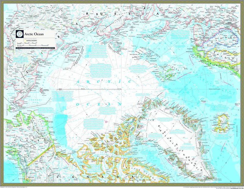 National Geographic Arctic Ocean Political Wall Map
