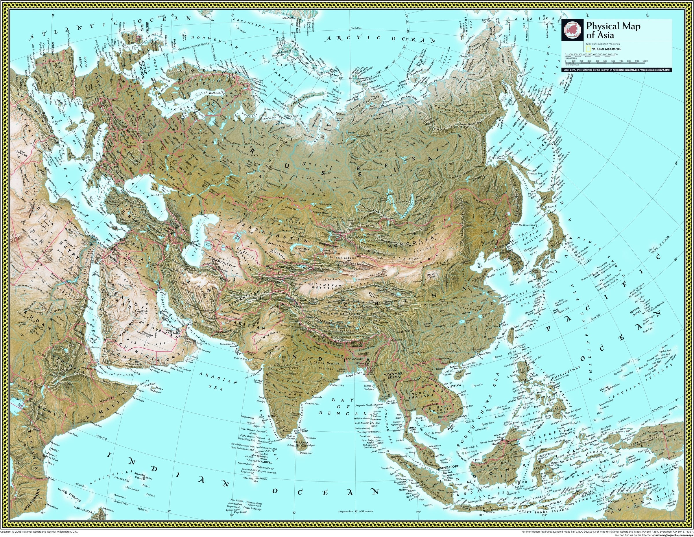 Picture of: Asia Physical Atlas Wall Map Maps Com Com