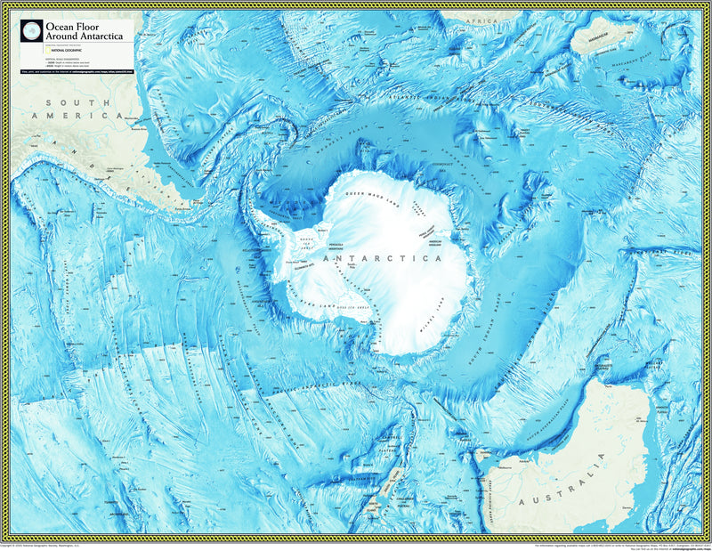 National Geographic Ocean Floor around Antarctica Wall Map