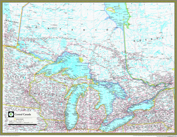 National Geographic Central Canada Wall Map