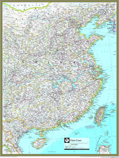 National Geographic Coast of China Wall Map