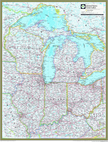 National Geographic Great Lakes Wall Map