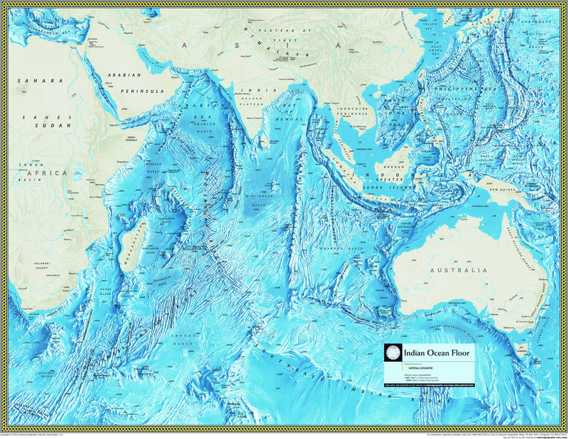 National Geographic Indian Ocean Floor Wall Map