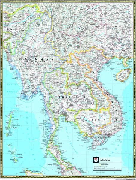 National Geographic Indochina Wall Map