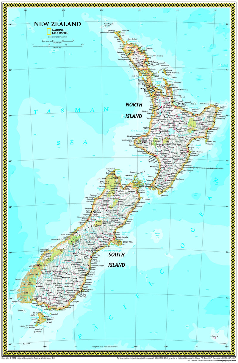 National Geographic New Zealand Wall Map