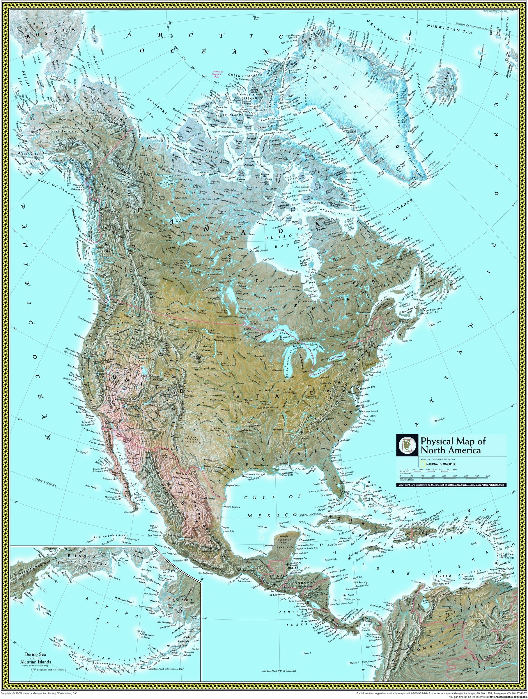 National Geographic North America Physical Wall Map