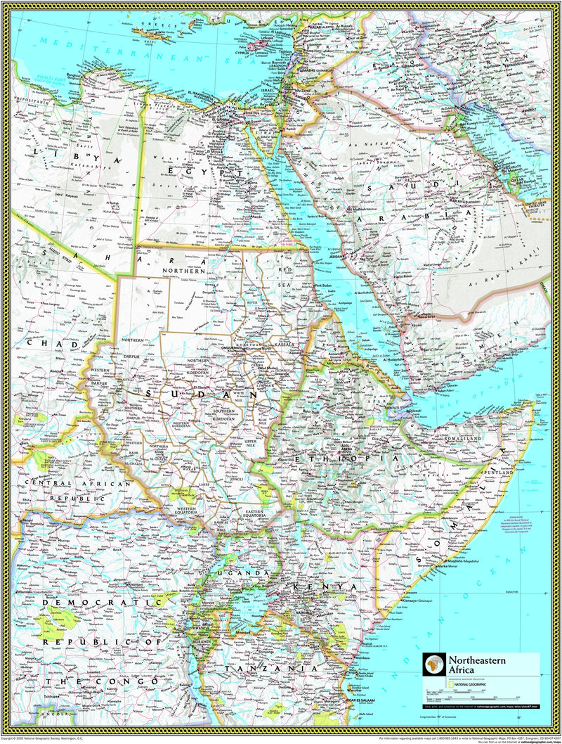 National Geographic Northeastern Africa Wall Map