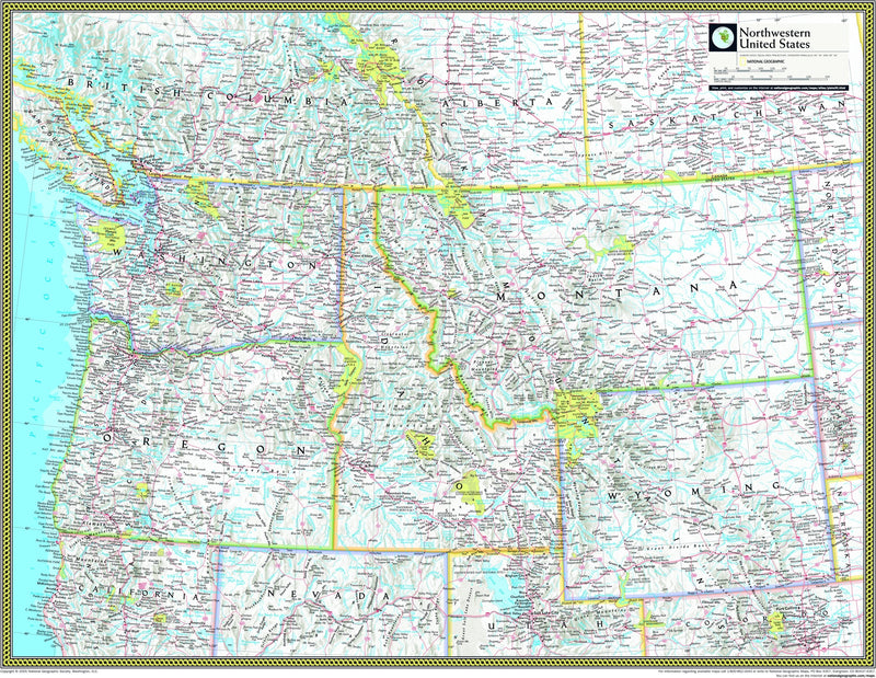 National Geographic Northwestern US Wall Map