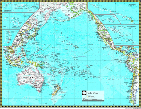 National Geographic Pacific Ocean Political Wall Map