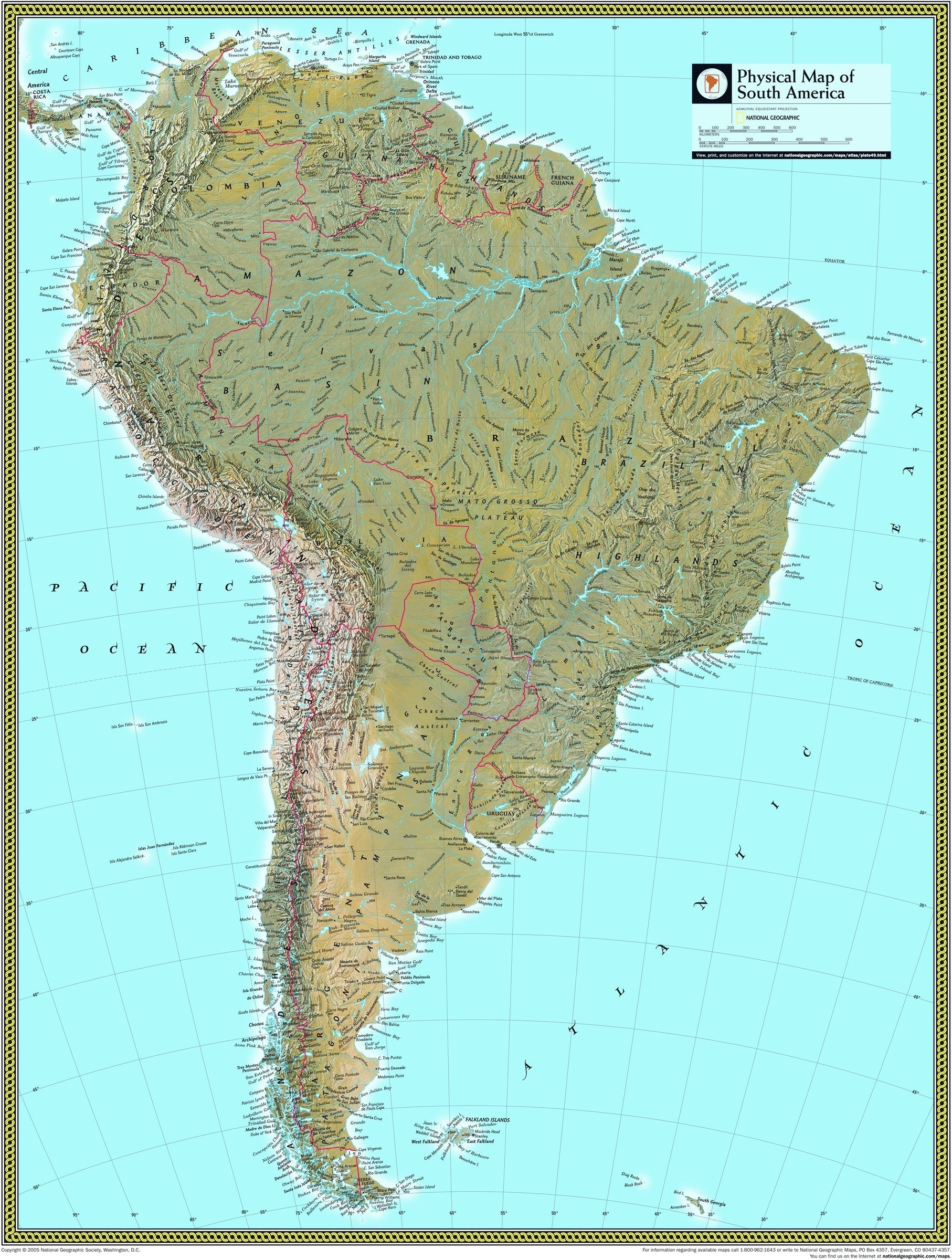 Image of: This Physical Wall Map Of South America By National Geographic Depicts The Drama Of The Andes As They Span The Entire Continent And How The Amazon And All Its Tributaries Snake Through