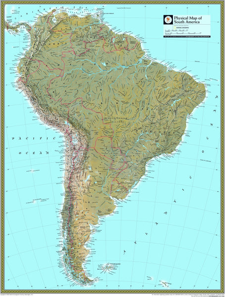 National Geographic South America Physical Wall Map