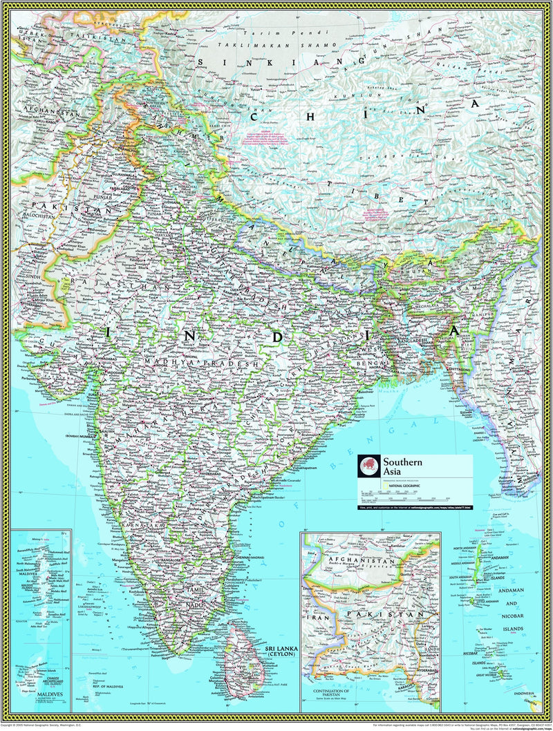 National Geographic Southern Asia Wall Map
