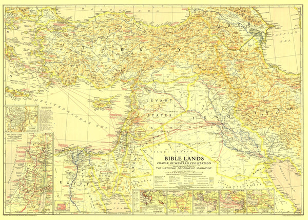 Bible Lands, And The Cradle Of Western Civilization Map 1938