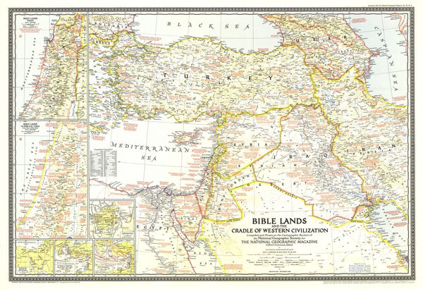 Bible Lands, And The Cradle Of Western Civilization Map 1946