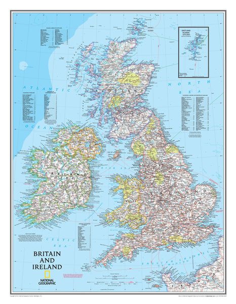 National Geographic British Isles Wall Map: Britain and Ireland