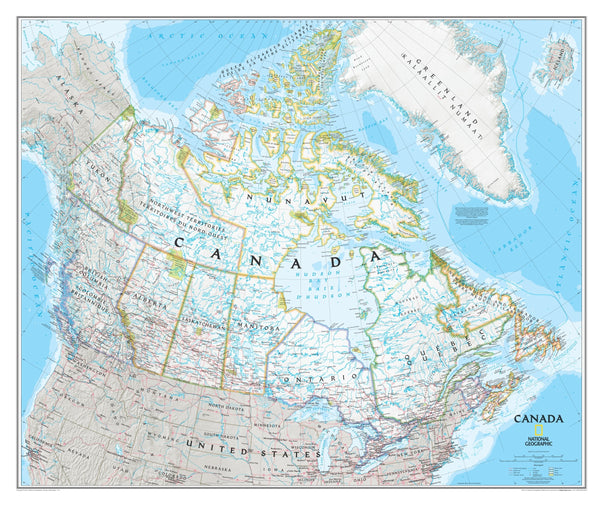 National Geographic Canada Wall Map