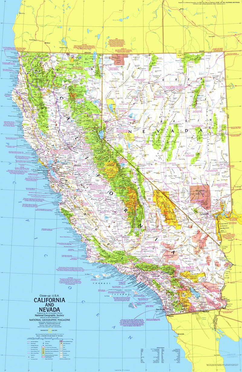 California And Nevada Map 1974 Side 1